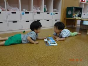 仲良く一緒に本を読んでいるのかな…。